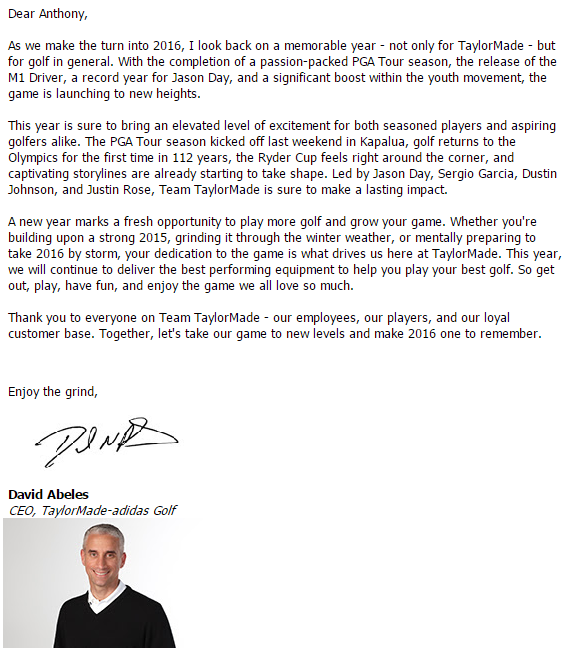 the new year letter to employees from ceo or can help what do you make of this letter from taylormade ceo david 934