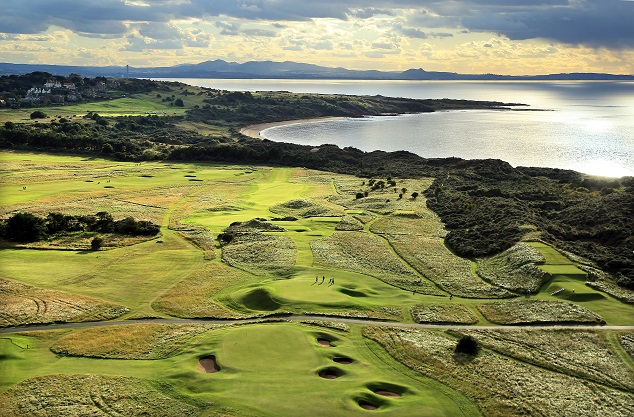 GULLANE, UNITED KINGDOM - SEPTEMBER 21: An aerial view of the green on the par 4, 12th hole (foreground) with the par 3, 4th hole and par 4, 3rd hole behind at The Honourable Company of Edinburgh Golfers Muirfield the venue for the 2013 Open Championship on September 21, in Gullane, Lothian, Scotland. (Photo by David Cannon/Getty Images)