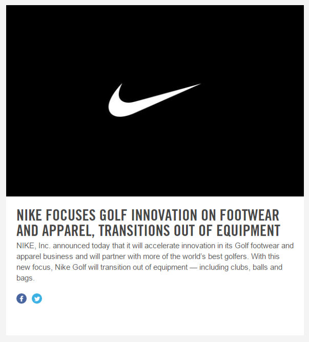 NIKE EXITING GOLF EQUIPMENT BUSINESS