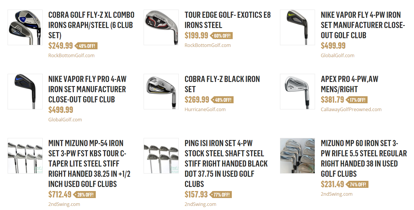 """d8c1edf43935 The new deals section (located below """"Recent Reviews"""" on the front page)  pulls in deals on both new and pre-owned clubs from multiple sources, ..."""