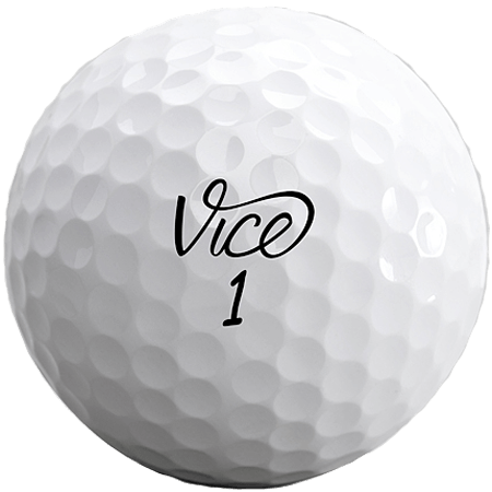 A Vice-Pro Pro Plus ball, one of the best golf balls