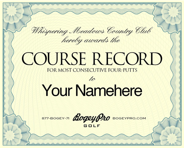 about - Fake Golf Handicap Certificate Template